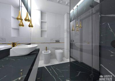 Projekt wnętrza elegancka zieleń pokój łazienka