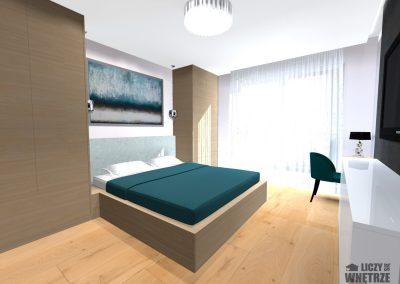 Projekt wnętrza elegancka zieleń sypialnia