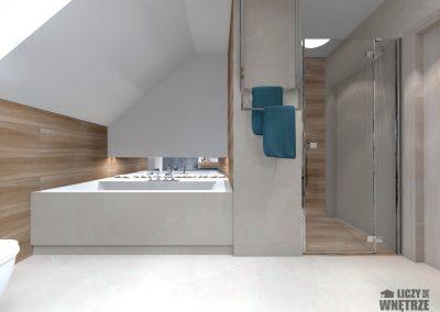 Projekt wnętrza granatowe łazienka
