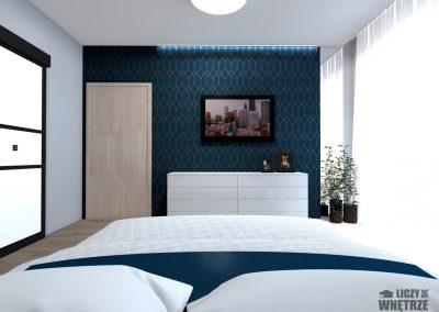 Projekt wnętrza granatowe sypialnia
