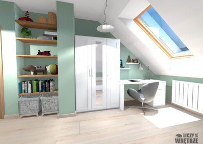 Projekt wnętrza Śląsk spokojny błękit pokój dziecięcy