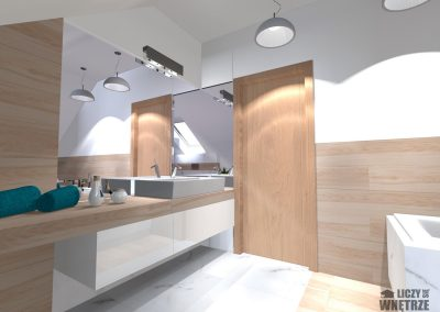 Projekt wnętrza Śląsk spokojny błękit łazienka