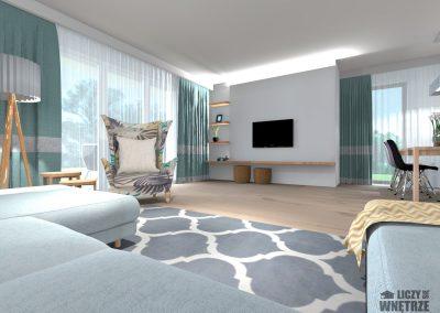Projekt wnętrza Śląsk spokojny błękit salon